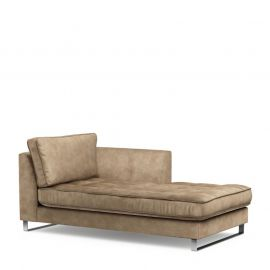 West Houston Chaise Longue Right Velv Golden Beige