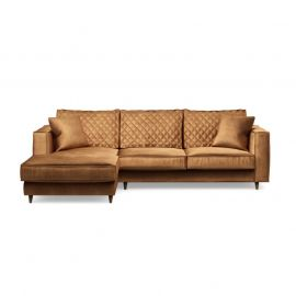 Kendall Sofa with Chaise Longue Left Velvet Cognac