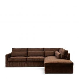 Brompton Cross Corner Sofa Right Velvet Chocolate