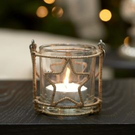 Rustic Rattan Christmas Star Votive
