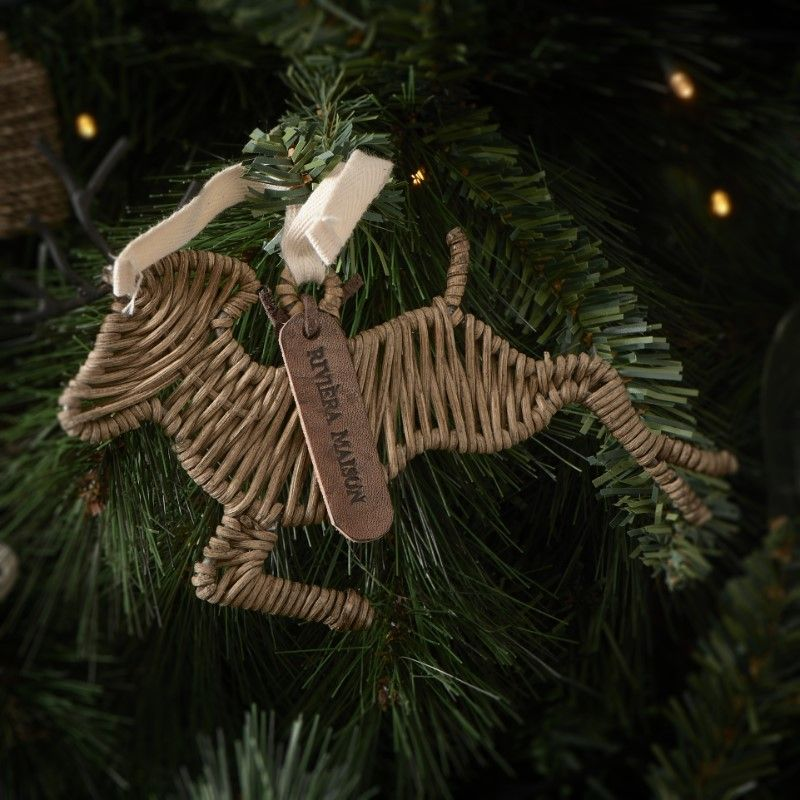 Rustic Rattan Deer Ornament