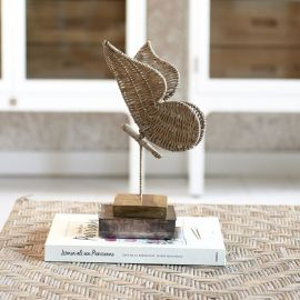 Rustic Rattan Butterfly Statue