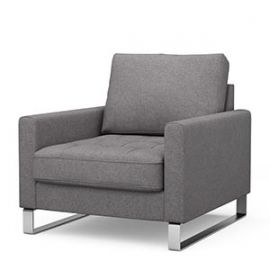 West Houston Armchair Oxford Weave Steel Grey